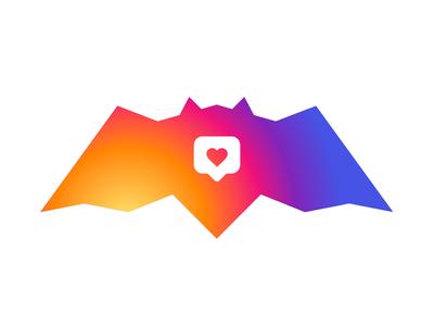 Bats ❤️ Instagram! valentines day heart colorful creative dynamic logo logo designer logo alex tass batman bat bats love instagram