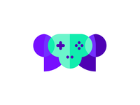 Gaming Ape: monkey + gaming pad, logo design symbol skull wild animals vr ar ai vector icon mark symbol tech  technology smart clever monkey logo design logo gorilla gaming pad games game fun intelligent creature flat 2d geometric face head helmet creative artificial intelligence ape