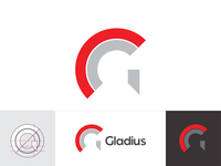 G for Gladius: negative space helmet, letter mark, logo design