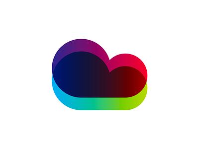 Colorful cloud for tech company logo design symbol creative flat 2d geometric vector icon mark symbol logo design logo technology tech cloud colorful