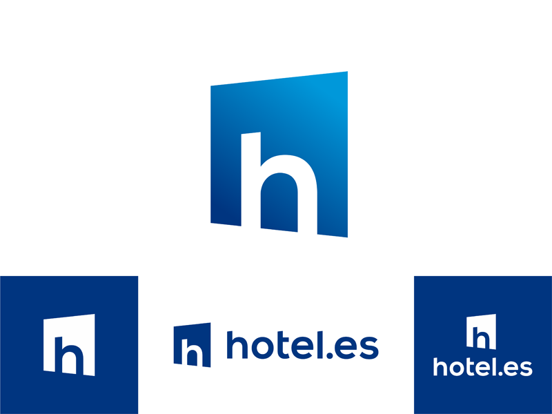 hotel.es logo design window bookings hotel hotels accomodation travel travelling vacation espana spain logo logo design vector icon mark symbol flat 2d geometric type typography custom logotype word mark custom type