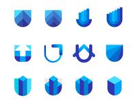 U letter, skyscrapers, shields, capital / finance logo symbols