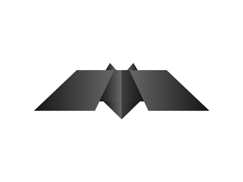 Geometric bat origami batman logo 2009 design symbol by alex tass