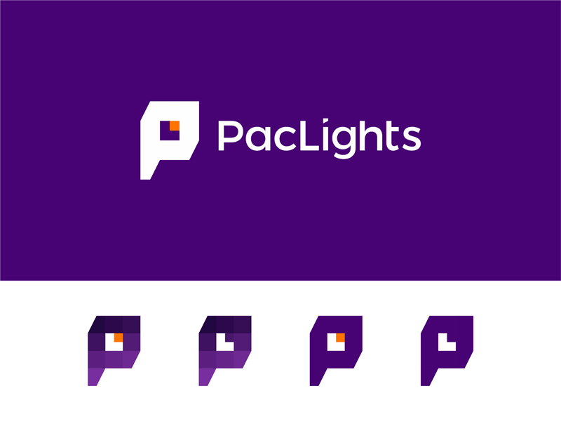 Paclights pl monogram l negative space light bulb logo design by alex tass