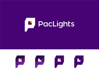 PacLights logo: PL monogram, L in negative space + light bulb