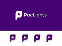 PacLights logo: PL monogram, L in negative space + light bulb
