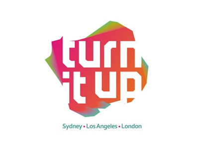 Turn It Up logo design house music clubbing edm electronic dance music london los angeles sydney music publisher record label record label records company management music turn it up custom custom made branding identity brand typographic typography type logotype logo designer logo design design logo colorful creative records label