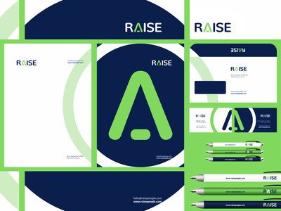 Raise, identity design for recruitment agency envelope letterhead business cards creative flat 2d geometric vector icon mark symbol logo design logo corporate branding stationery design identity design recruitment agency raise