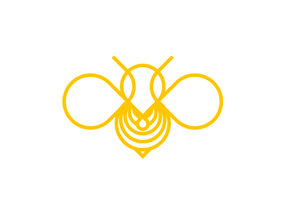 Bee line art logo design symbol insects animals pin pointer yellow wings wasp vector icon mark symbol sweet nature logo design logo line art honey bee honey hive flat 2d geometric drip drop clean simple bumblebee bees bee