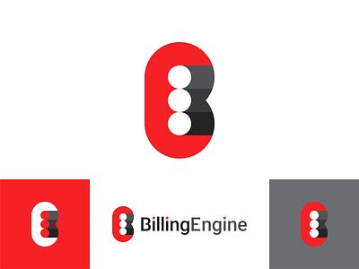 BillingEngine logo design: B E letters + engine pistons eb invoicing solution system depth shadow negative space be e b letter mark monogram saas application billing engine creative flat 2d geometric vector icon mark symbol logo design logo