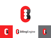 BillingEngine logo design: B E letters + engine pistons