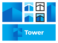 Tower logo design: T letter mark, skyscraper, arrow