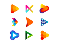 Play icons / logo design symbols collection youtube channel page account fintech forward arrow video videos media multimedia marketing gradient modern futuristic mark brand branding game games gaming entertainment music play fun colorful creative flat 2d geometric vector icon mark symbol logo design logo