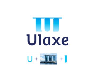 Ulaxe cosmetics logo design: U letter + Marina Bay Sands
