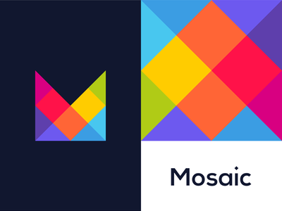 Mosaic colorful modular m letter mark logo design by alex tass