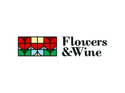 Flowers & Wine logo design