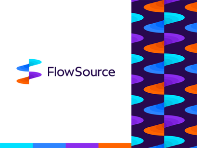 FlowSource: flowing FS monogram for productivity app logo design