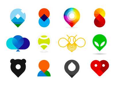 Pin pointers icons / logo design symbols collection geotag geotagging google map maps pin pointer human people love heart honey bee drip drop droplet brand identity branding creative flat 2d geometric logo person silhouette bear tennis sports club oil gas station colorful mountain nature natural pin pointers location