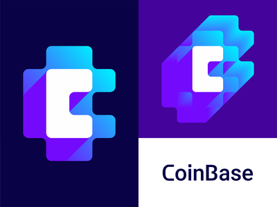 CoinBase logo design: CB negative space monogram network nodes bc cb finance financial negative space fintech b letter mark monogram digital currency cryptocurrency crypto c blocks blockchain block chain bitcoin coins money brand identity branding creative flat 2d geometric vector icon mark symbol logo design logo