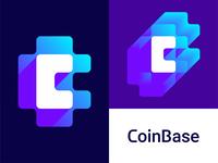 CoinBase logo design: CB negative space monogram