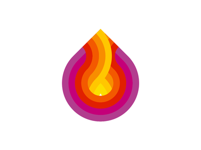 Fire logo symbol exploration wave fuel energy droplet drop explode colorful flames inside inner brand identity branding creative flat 2d geometric vector icon mark symbol logo design logo waves heat hot flame fire