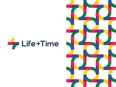 Life + Time, management app logo design, L + T monogram colorful creative a l e x t a s s l o g o d s g n b c f h i j k m p q r u v w y z app logo icon symbol management app corporate pattern balance circle of life letter mark monogram tl lt t l self-improvement plus time life brand identity branding flat 2d geometric logo design