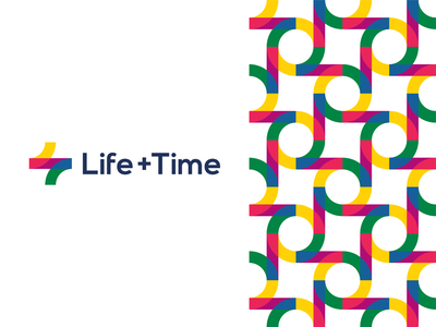 Life + Time, management app logo design, L + T monogram management app corporate pattern balance circle of life colorful letter mark monogram tl lt t l self-improvement plus time life brand identity branding creative flat 2d geometric vector icon mark symbol logo design logo