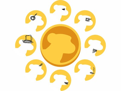 Monkey business! Gold coin + avatar profiles, logo exploration