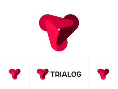 Trialog logo: 3 dynamic forces forming T letter artificial intelligence t colorful interactive dynamic letter mark monogram ai tr dialogue between software brand identity branding creative flat 2d geometric vector icon mark symbol logo design logo