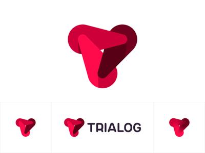 Trialog logo: 3 dynamic forces forming T letter