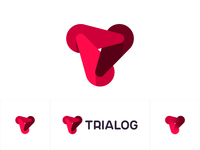 Trialog logo: 3 dynamic forces forming T letter