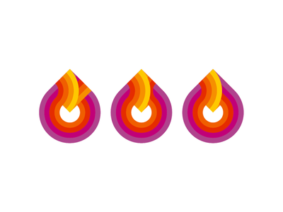 Fire / flames logo symbol exploration v.2 waves within vector icon mark symbol logo design logo inside inner hot heat fuel energy flat 2d geometric flames flame fire explode droplet drop creative colorful brand identity branding