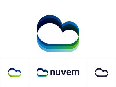 Cloud, birds, fields, logo design for software developer