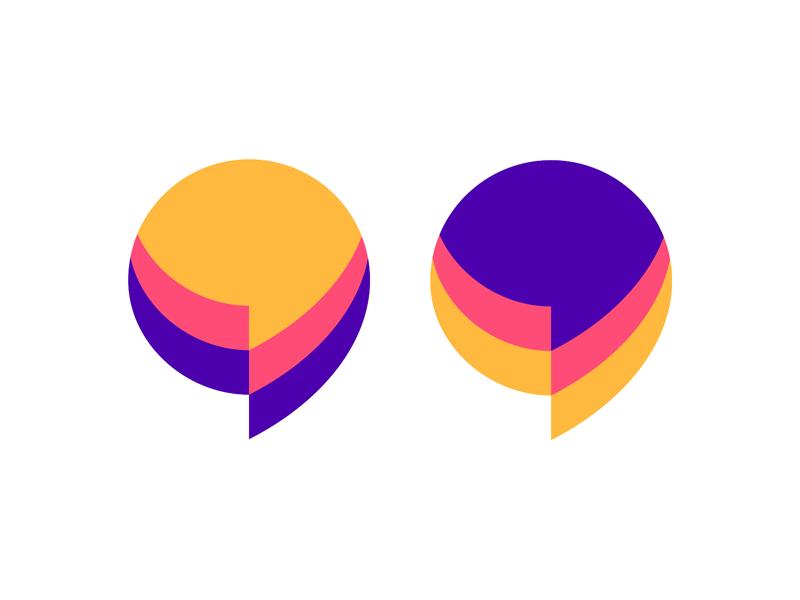 Chat: speech bubbles + quote marks, logo design symbol