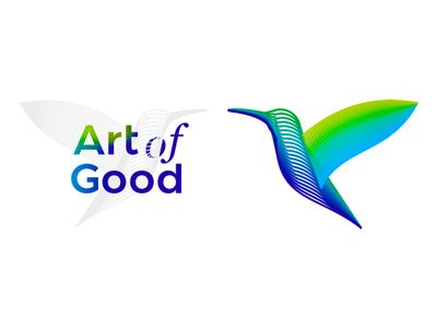 Art of Good, colorful Colibri / hummingbird logo design art for good brand identity branding good vector icon mark symbol logo design logo lines hummingbird flat 2d geometric creative colorful colibri blends