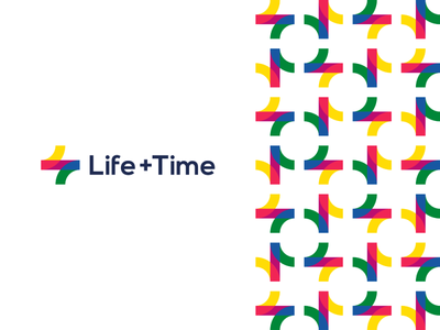Life + Time, management app logo monogram + pattern design vector icon mark symbol tl clock hands t self-improvement plus management lt logo design logo life time letter mark monogram l flat 2d geometric creative corporate pattern colorful circle of life brand identity branding balance