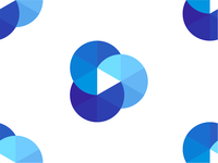 Play icon + cloud + film reel, logo design symbol