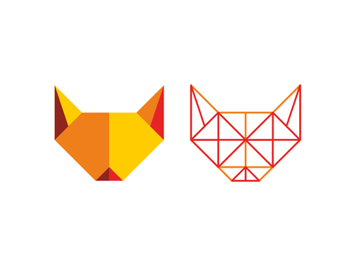 Fox head logo design symbol + construction grid