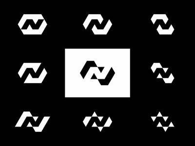 N in Negative Space, logo explorations vector icon mark symbol smart nn negative space n logo design logo letter mark monogram intelligent flat 2d geometric exploration creative clever check mark brand identity branding black and white