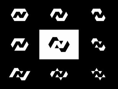 N in Negative Space, logo explorations