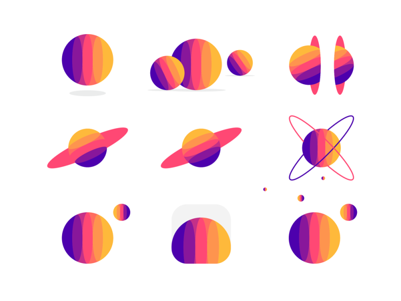 All.me m planets space universe ecosystem logo design by alex tass