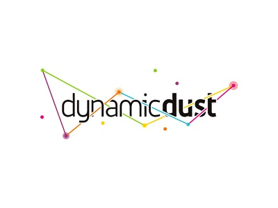 Dynamic Dust logo design for games and apps developer abstract space awarded featured typographic typography type corporate visual identity dust particles interactive lines paths dots circles points startups start ups start-ups studio agency independent freelancer web design development ui ux mobile and desktop developer applications apps gaming games custom made branding brand logotype logo designer logo design logo colorful creative dynamic