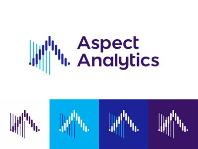 Aspect Analytics, logo design for biomedical IT tools vector icon mark symbol tech technology spectral image processing spectral data analysis scan scanner scanning medical medicine machine learning logo design letter mark monogram it software developer insights knowledge extraction imaging mass spectrometry flat 2d geometric data mining creative biomedical research biomedical bioinformatics app apps tools a 3d imaging imagery