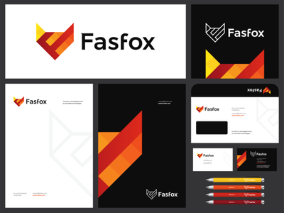 Fox, F letter, technology consultant logo & identity design cat feline corporate identity design stationery design vector icon mark symbol tech technologies technology system architecture logo design logo letter mark monogram fox flat 2d geometric finance financial fintech f digital solutions cutting edge creative consultant brand identity branding automating tools advanced backend systems