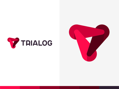 Trialog: ai, tr, software logo - 3 dynamic forces form T letter vector icon mark symbol tr t logo design logo monogram letter mark interactive flat 2d geometric dynamic dialogue between software creative colorful brand identity branding artificial intelligence ai