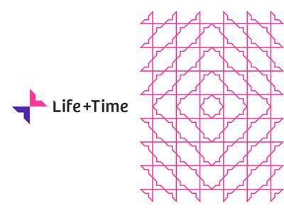 Life + Time management app logo & pattern design, L + T monogram