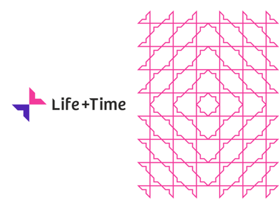 Life + Time management app logo & pattern design, L + T monogram management app butterfly effect ripple effect life plus time tl t self-improvement lt logo design logo letter mark monogram l flat 2d geometric creative corporate pattern colorful circle of life branding brand identity balance