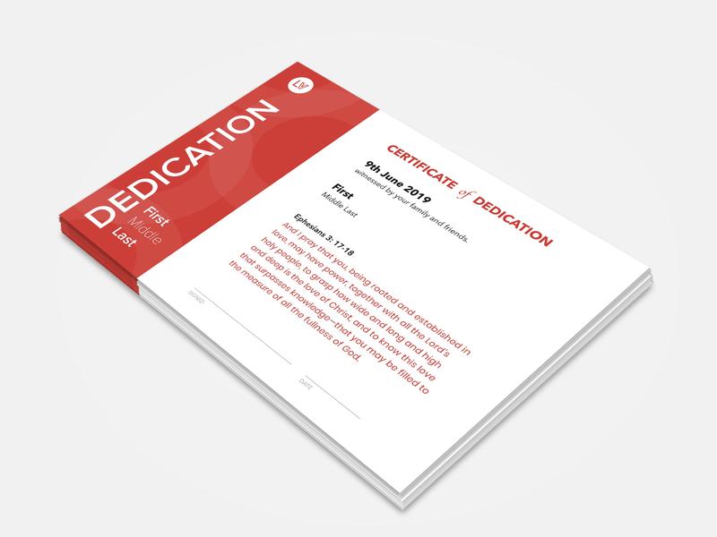 Dedication Certificate branding minimal design clean simple