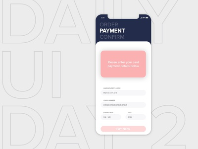 Daily UI Challenge - Day 2 ux iphone ui minimal iphonex pink ios app creative bold blue simple daily ui daily ui 002 form field payment form paymentscreen payment