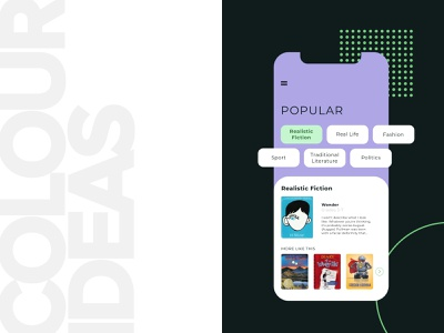 Book App Concept visual design uidesign ui  ux graphic design dark mode webdesign green colour branding minimal app design clean simple colour palette mobile design app design iphonex ios concept